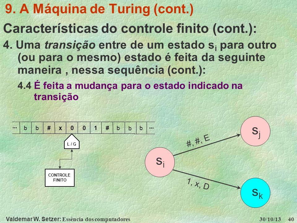 Valdemar W. Setzer: Essência dos computadores 30/10/13 40 9. A Máquina de Turing (cont.) Características do controle finito (cont.): 4. Uma transição
