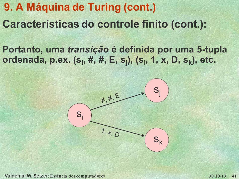 Valdemar W. Setzer: Essência dos computadores 30/10/13 41 9. A Máquina de Turing (cont.) Características do controle finito (cont.): Portanto, uma tra