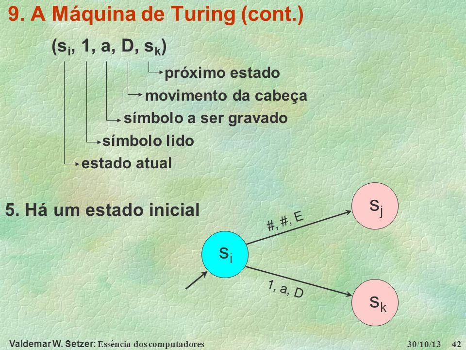 Valdemar W. Setzer: Essência dos computadores 30/10/13 42 9. A Máquina de Turing (cont.) (s i, 1, a, D, s k ) próximo estado movimento da cabeça símbo