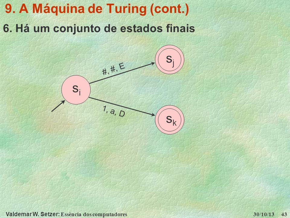 Valdemar W. Setzer: Essência dos computadores 30/10/13 43 9. A Máquina de Turing (cont.) 6. Há um conjunto de estados finais sisi sjsj sksk #, #, E 1,
