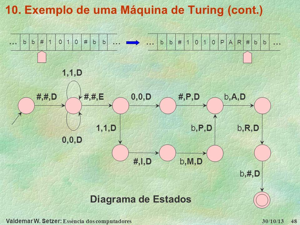Valdemar W. Setzer: Essência dos computadores 30/10/13 48 10. Exemplo de uma Máquina de Turing (cont.) 1,1,D #,#,D #,#,E 0,0,D #,P,D b,A,D 1,1,D b,P,D