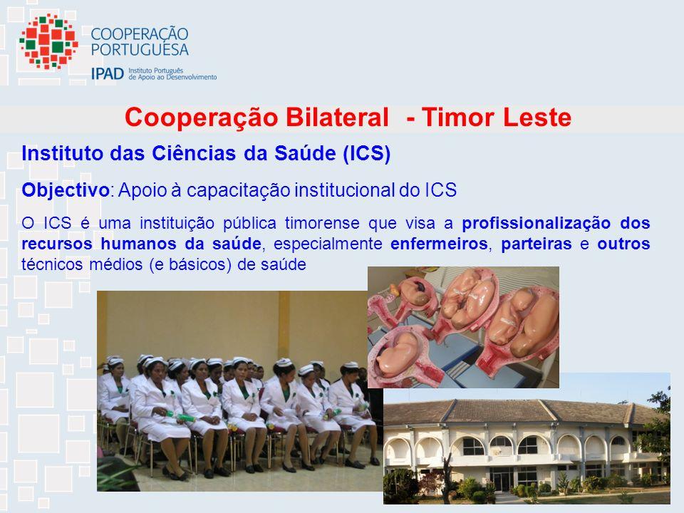 16 Instituto das Ciências da Saúde (ICS) O ICS é uma instituição pública timorense que visa a profissionalização dos recursos humanos da saúde, especialmente enfermeiros, parteiras e outros técnicos médios (e básicos) de saúde Cooperação Bilateral - Timor Leste Objectivo: Apoio à capacitação institucional do ICS