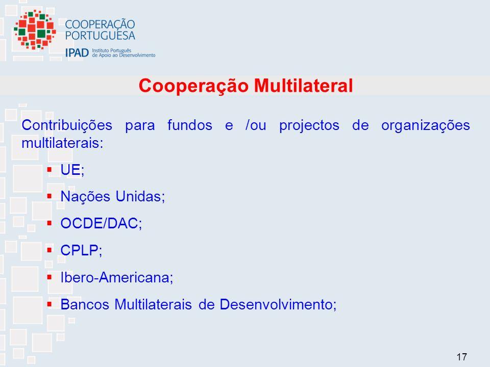 17 Cooperação Multilateral Contribuições para fundos e /ou projectos de organizações multilaterais: UE; Nações Unidas; OCDE/DAC; CPLP; Ibero-Americana; Bancos Multilaterais de Desenvolvimento;