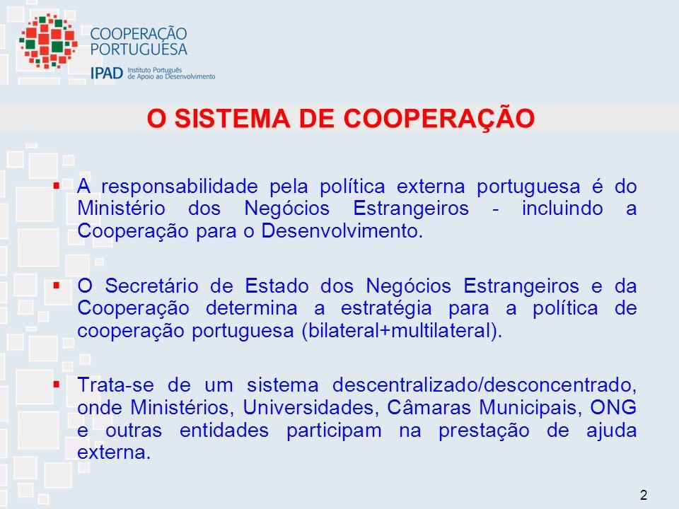 2 O SISTEMA DE COOPERAÇÃO A responsabilidade pela política externa portuguesa é do Ministério dos Negócios Estrangeiros - incluindo a Cooperação para o Desenvolvimento.