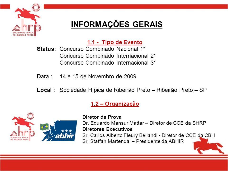 INFORMAÇÕES GERAIS 1.1 - Tipo de Evento Status:Concurso Combinado Nacional 1* Concurso Combinado Internacional 2* Concurso Combinado Internacional 3*