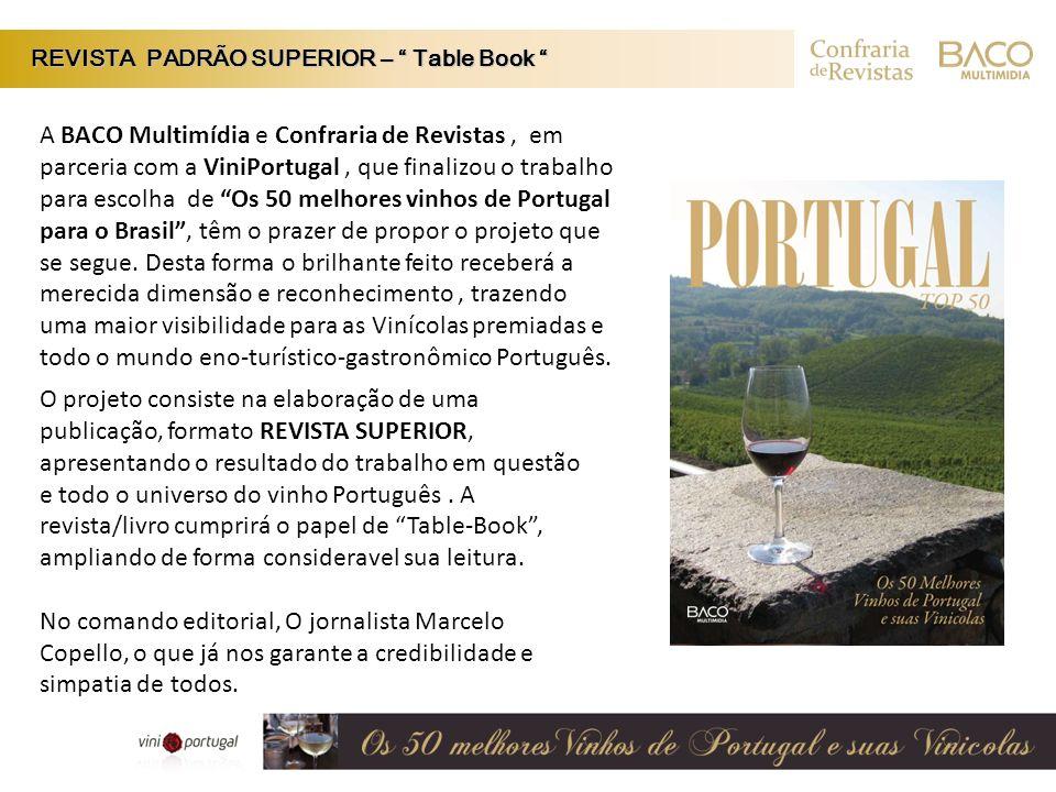 A BACO Multimídia e Confraria de Revistas, em parceria com a ViniPortugal, que finalizou o trabalho para escolha de Os 50 melhores vinhos de Portugal