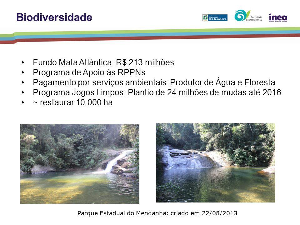 Fundo Mata Atlântica: R$ 213 milhões Programa de Apoio às RPPNs Pagamento por serviços ambientais: Produtor de Água e Floresta Programa Jogos Limpos: