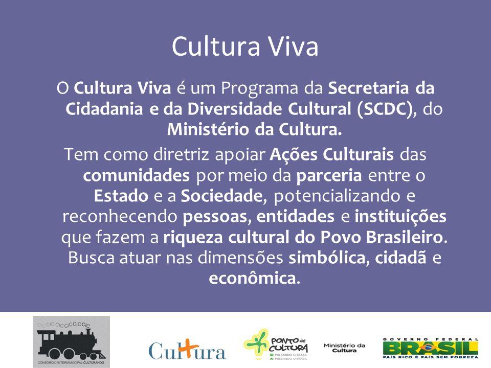Cultura Viva O Cultura Viva é um Programa da Secretaria da Cidadania e da Diversidade Cultural (SCDC), do Ministério da Cultura.