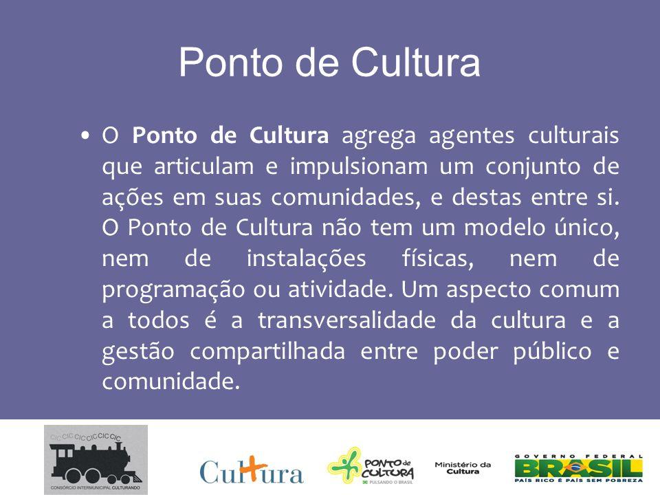 Ponto de Cultura O Ponto de Cultura agrega agentes culturais que articulam e impulsionam um conjunto de ações em suas comunidades, e destas entre si.