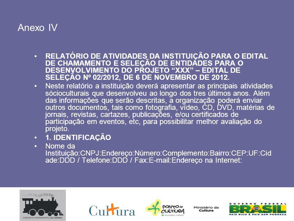 Anexo IV RELATÓRIO DE ATIVIDADES DA INSTITUIÇÃO PARA O EDITAL DE CHAMAMENTO E SELEÇÃO DE ENTIDADES PARA O DESENVOLVIMENTO DO PROJETO XXX – EDITAL DE SELEÇÃO Nº 02/2012, DE 6 DE NOVEMBRO DE 2012.