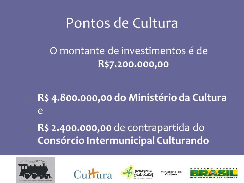 Pontos de Cultura O montante de investimentos é de R$7.200.000,00 - R$ 4.800.000,00 do Ministério da Cultura e - R$ 2.400.000,00 de contrapartida do Consórcio Intermunicipal Culturando