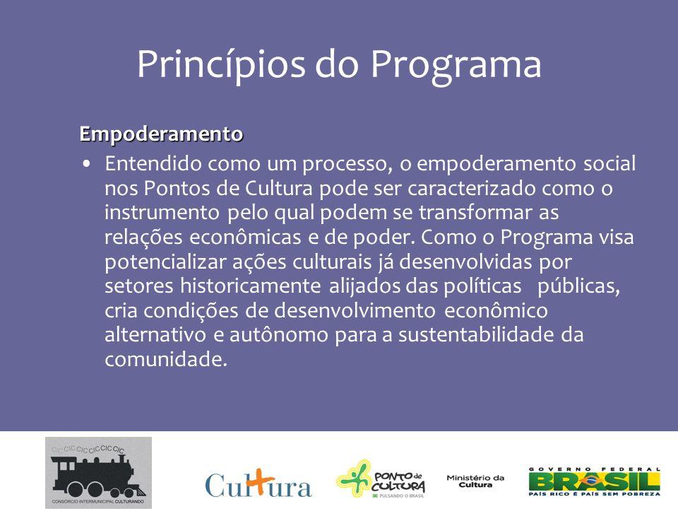Princípios do Programa Empoderamento Entendido como um processo, o empoderamento social nos Pontos de Cultura pode ser caracterizado como o instrumento pelo qual podem se transformar as relações econômicas e de poder.