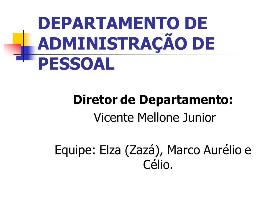 DEPARTAMENTO DE ADMINISTRAÇÃO DE PESSOAL Diretor de Departamento: Vicente Mellone Junior Equipe: Elza (Zazá), Marco Aurélio e Célio.