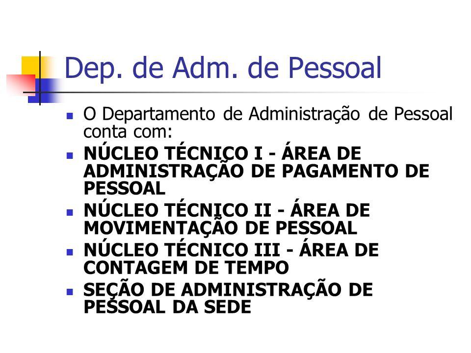 Dep. de Adm. de Pessoal O Departamento de Administração de Pessoal conta com: NÚCLEO TÉCNICO I - ÁREA DE ADMINISTRAÇÃO DE PAGAMENTO DE PESSOAL NÚCLEO