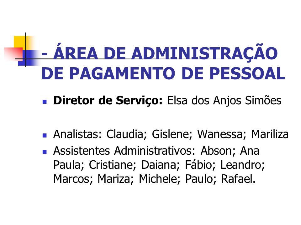 - ÁREA DE ADMINISTRAÇÃO DE PAGAMENTO DE PESSOAL Diretor de Serviço: Elsa dos Anjos Simões Analistas: Claudia; Gislene; Wanessa; Mariliza Assistentes A