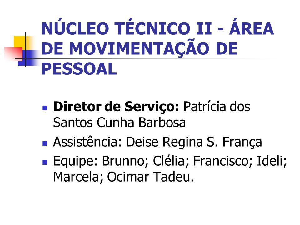 NÚCLEO TÉCNICO II - ÁREA DE MOVIMENTAÇÃO DE PESSOAL Diretor de Serviço: Patrícia dos Santos Cunha Barbosa Assistência: Deise Regina S. França Equipe:
