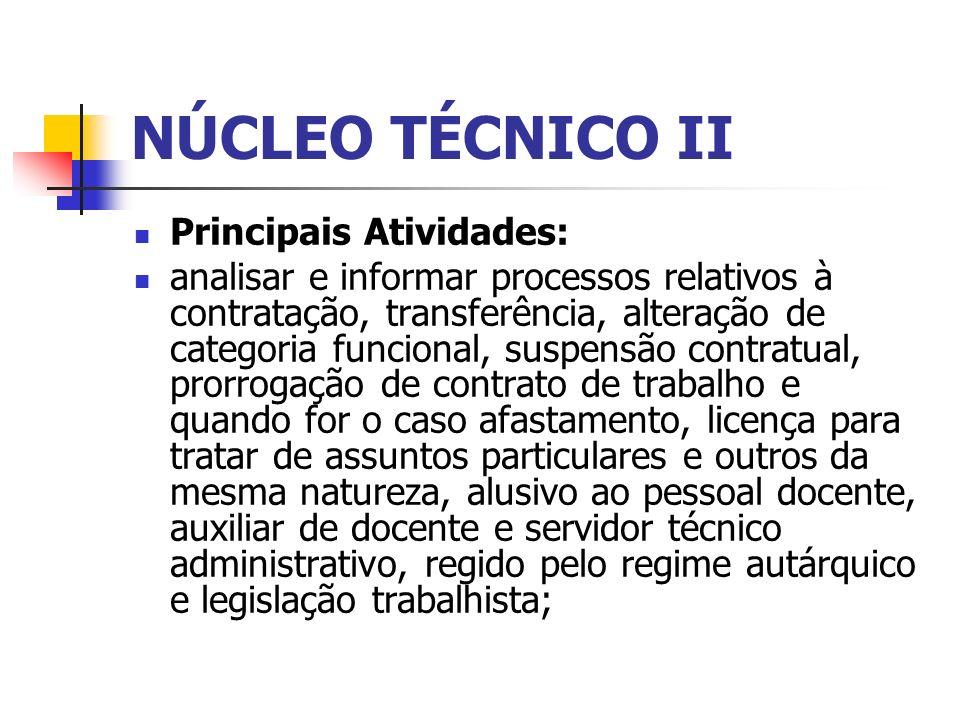 NÚCLEO TÉCNICO II Principais Atividades: analisar e informar processos relativos à contratação, transferência, alteração de categoria funcional, suspe