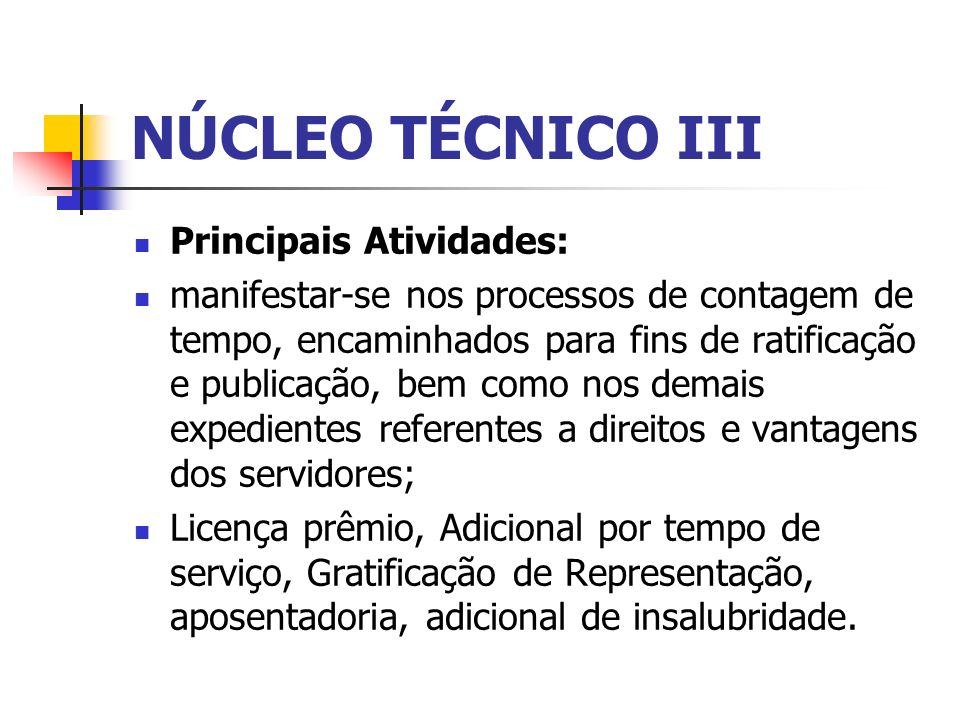 NÚCLEO TÉCNICO III Principais Atividades: manifestar-se nos processos de contagem de tempo, encaminhados para fins de ratificação e publicação, bem co
