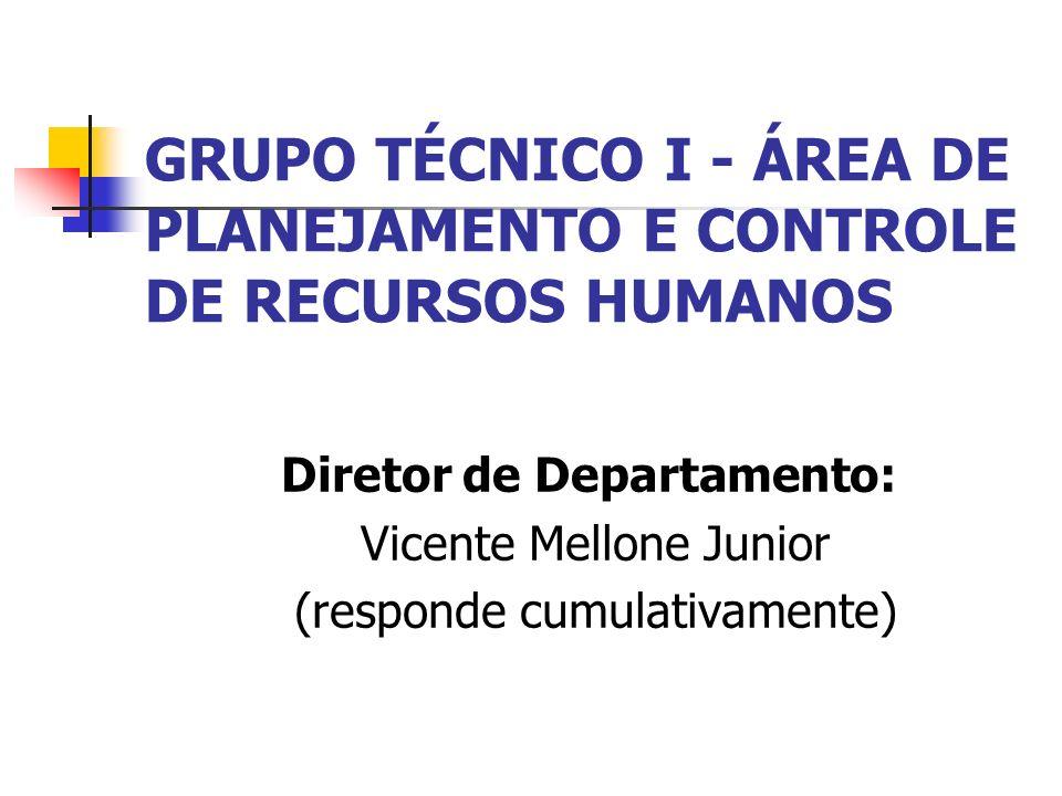 GRUPO TÉCNICO I - ÁREA DE PLANEJAMENTO E CONTROLE DE RECURSOS HUMANOS Diretor de Departamento: Vicente Mellone Junior (responde cumulativamente)