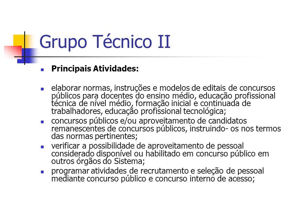 Grupo Técnico II Principais Atividades: elaborar normas, instruções e modelos de editais de concursos públicos para docentes do ensino médio, educação