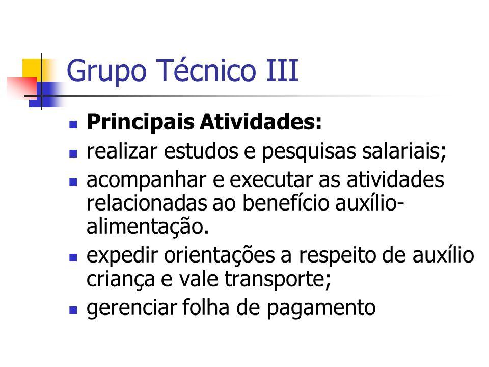 Grupo Técnico III Principais Atividades: realizar estudos e pesquisas salariais; acompanhar e executar as atividades relacionadas ao benefício auxílio