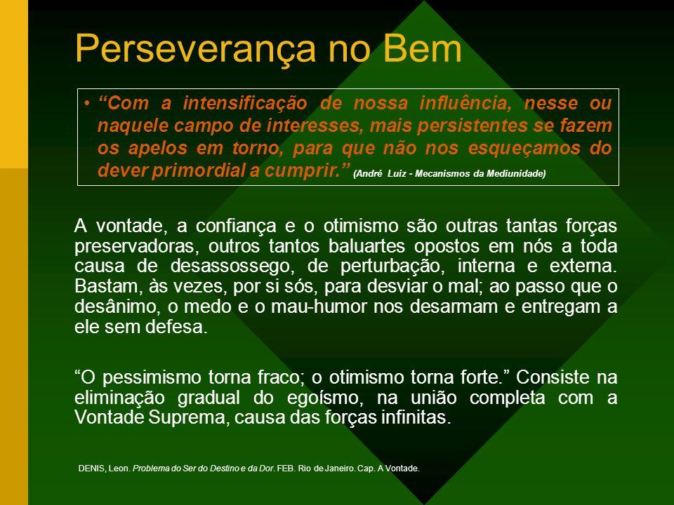 Perseverança no Bem A vontade, a confiança e o otimismo são outras tantas forças preservadoras, outros tantos baluartes opostos em nós a toda causa de desassossego, de perturbação, interna e externa.