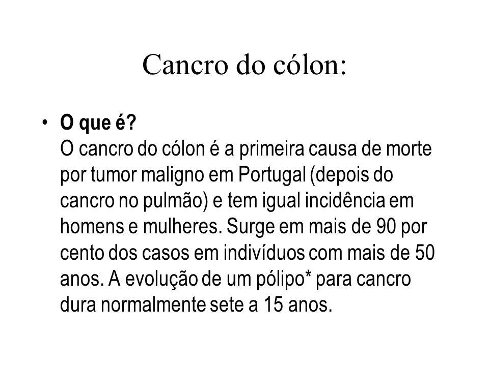Cancro do cólon: O que é.