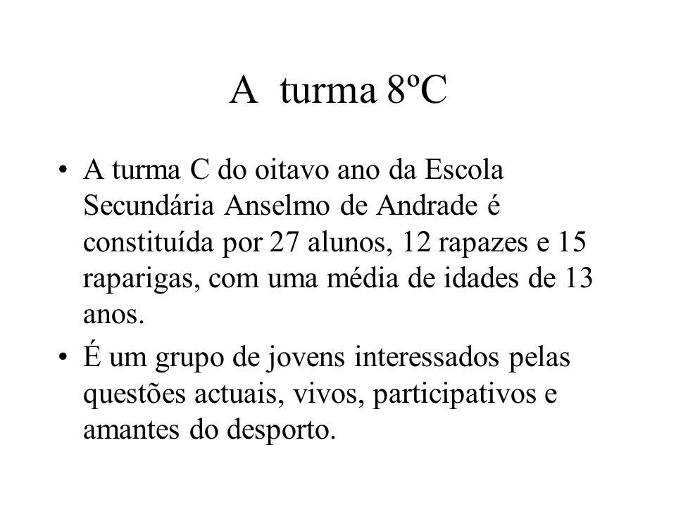 A turma 8ºC A turma C do oitavo ano da Escola Secundária Anselmo de Andrade é constituída por 27 alunos, 12 rapazes e 15 raparigas, com uma média de idades de 13 anos.
