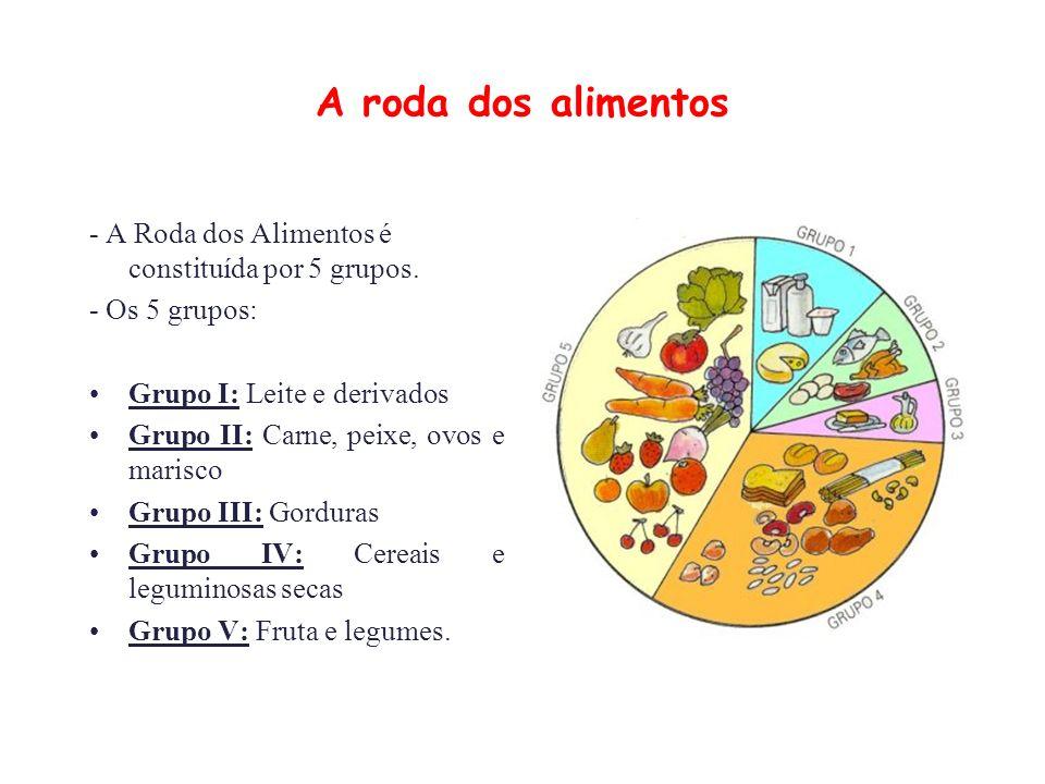 A roda dos alimentos - A Roda dos Alimentos é constituída por 5 grupos.