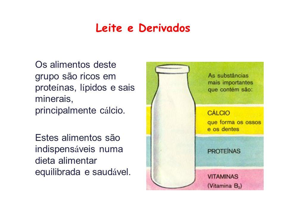 Leite e Derivados Os alimentos deste grupo são ricos em prote í nas, l í pidos e sais minerais, principalmente c á lcio.