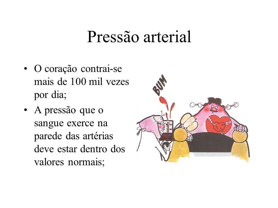 Pressão arterial O coração contrai-se mais de 100 mil vezes por dia; A pressão que o sangue exerce na parede das artérias deve estar dentro dos valores normais;