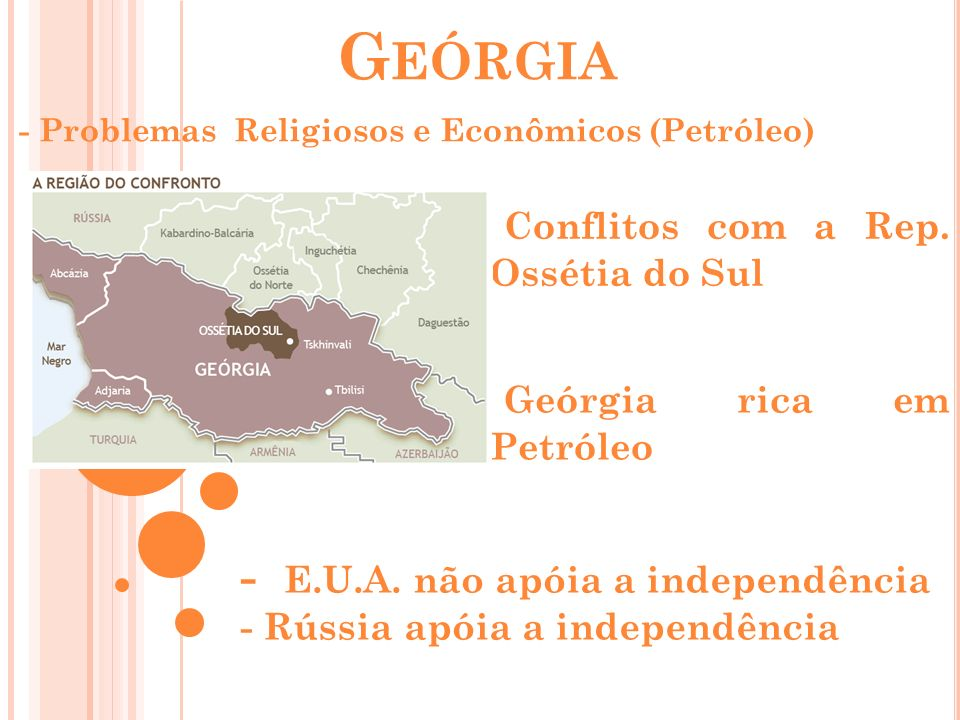 G EÓRGIA - Problemas Religiosos e Econômicos (Petróleo) Conflitos com a Rep. Ossétia do Sul - E.U.A. não apóia a independência - Rússia apóia a indepe