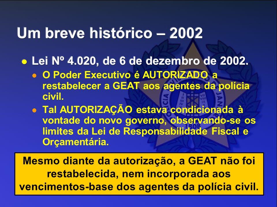 Mesmo diante da autorização, a GEAT não foi restabelecida, nem incorporada aos vencimentos-base dos agentes da polícia civil.