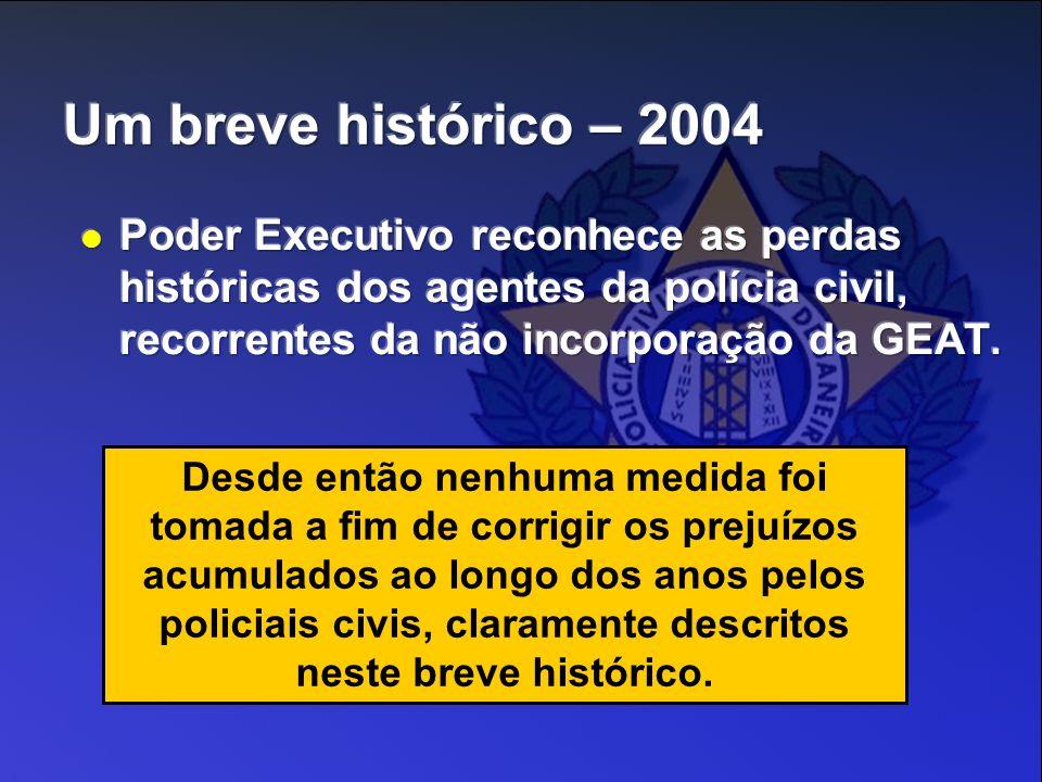 Desde então nenhuma medida foi tomada a fim de corrigir os prejuízos acumulados ao longo dos anos pelos policiais civis, claramente descritos neste br
