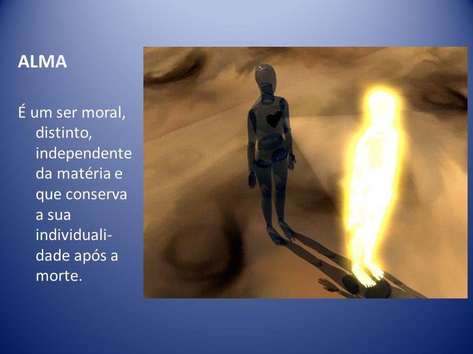 ALMA É um ser moral, distinto, independente da matéria e que conserva a sua individuali- dade após a morte.