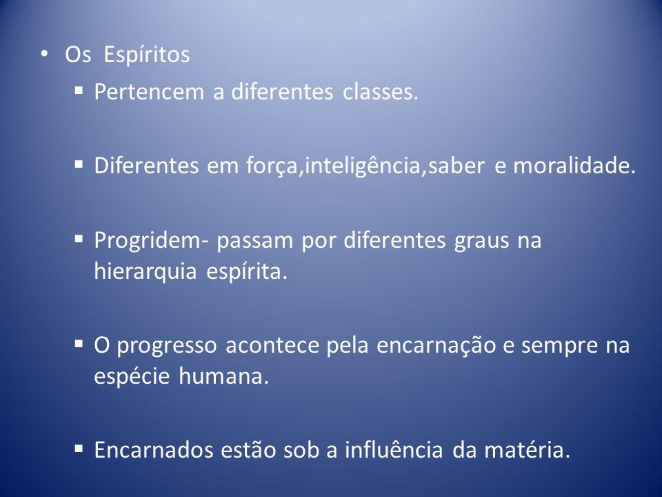 Os Espíritos Pertencem a diferentes classes.Diferentes em força,inteligência,saber e moralidade.