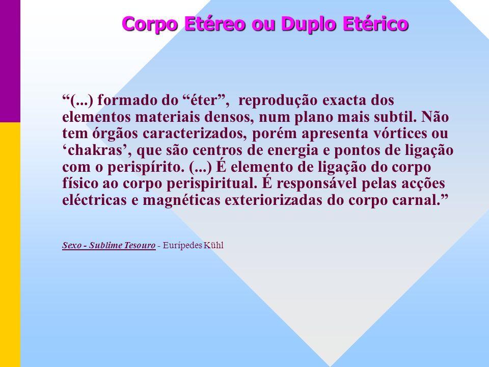 Corpo Etéreo ou Duplo Etérico (...) formado do éter, reprodução exacta dos elementos materiais densos, num plano mais subtil.