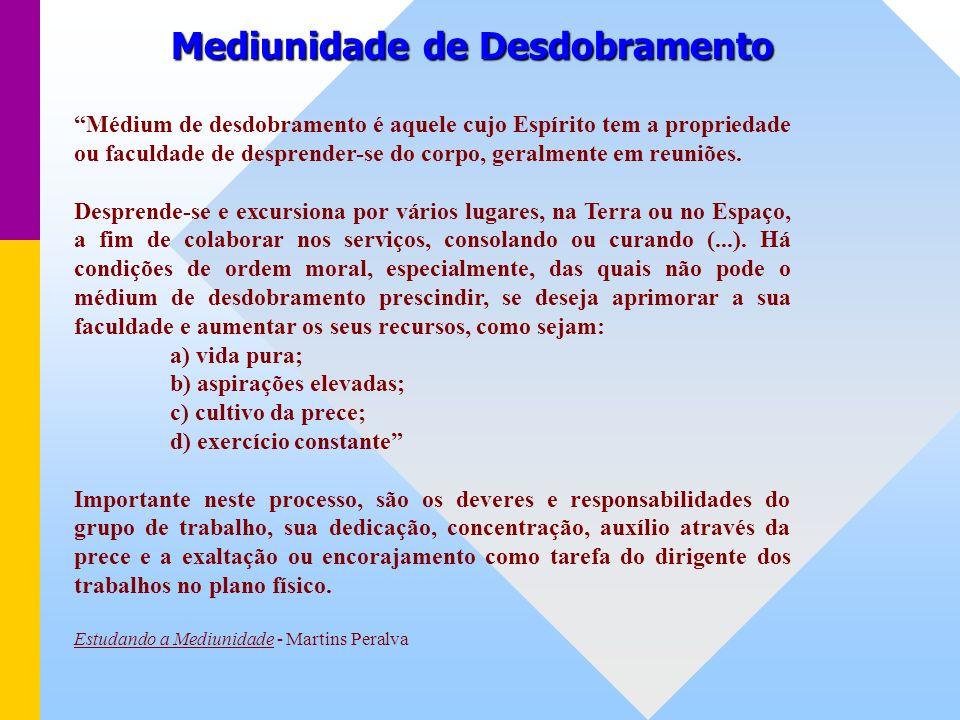 Mediunidade de Desdobramento Médium de desdobramento é aquele cujo Espírito tem a propriedade ou faculdade de desprender-se do corpo, geralmente em reuniões.
