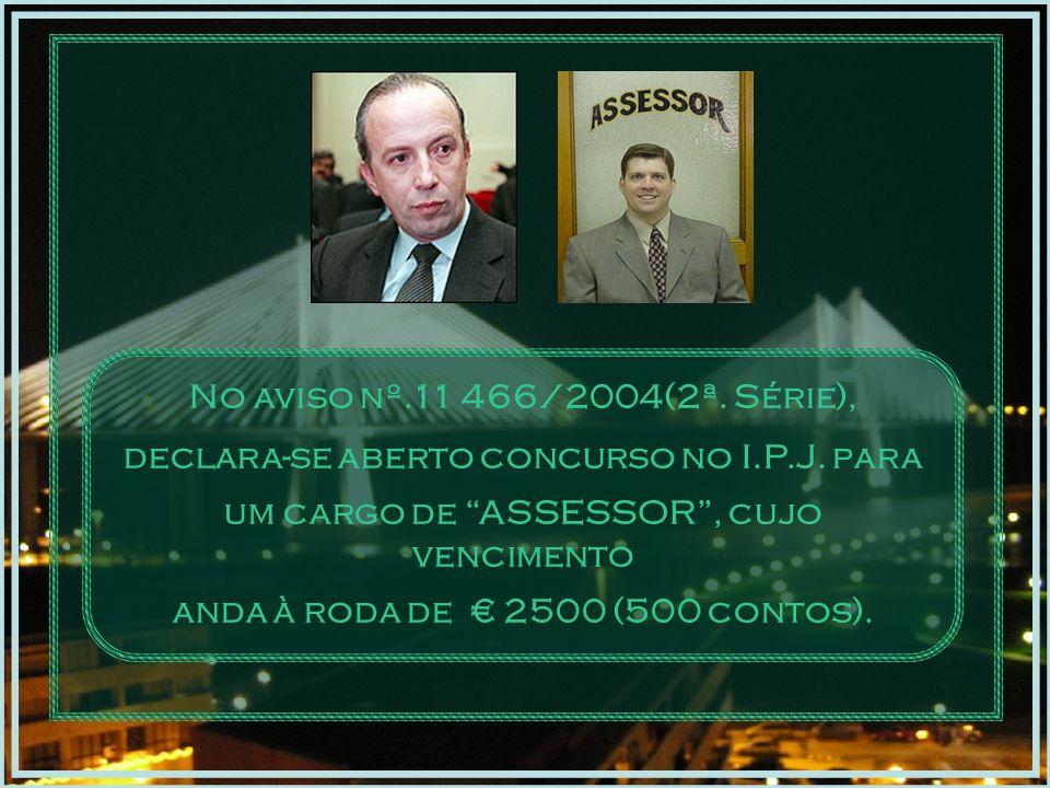 No aviso nº.11 466/2004(2ª.Série), declara-se aberto concurso no I.P.J.