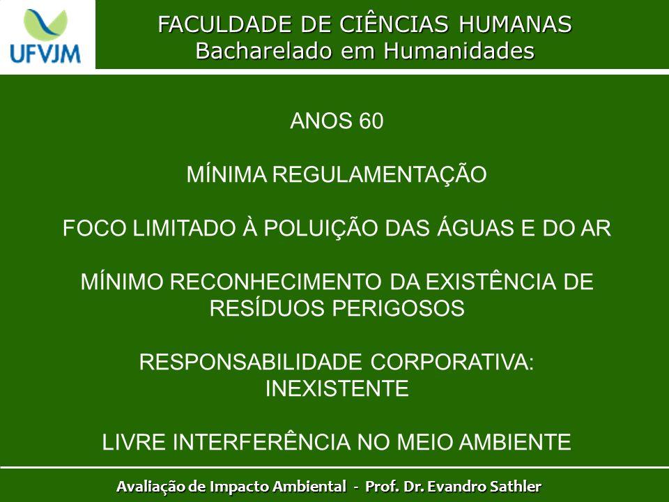 FACULDADE DE CIÊNCIAS HUMANAS Bacharelado em Humanidades Avaliação de Impacto Ambiental - Prof. Dr. Evandro Sathler ANOS 60 MÍNIMA REGULAMENTAÇÃO FOCO
