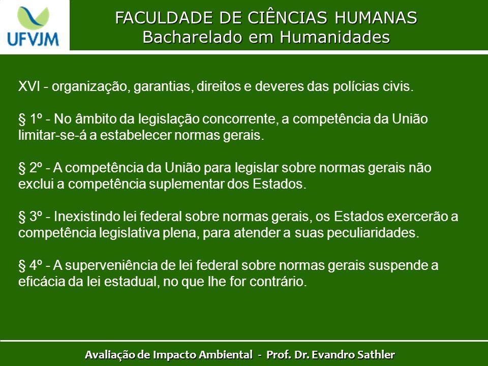 FACULDADE DE CIÊNCIAS HUMANAS Bacharelado em Humanidades Avaliação de Impacto Ambiental - Prof. Dr. Evandro Sathler XVI - organização, garantias, dire