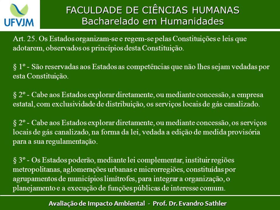 FACULDADE DE CIÊNCIAS HUMANAS Bacharelado em Humanidades Avaliação de Impacto Ambiental - Prof. Dr. Evandro Sathler Art. 25. Os Estados organizam-se e
