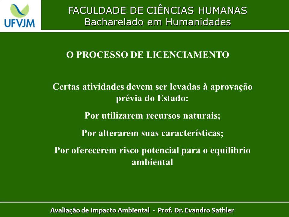 FACULDADE DE CIÊNCIAS HUMANAS Bacharelado em Humanidades Avaliação de Impacto Ambiental - Prof. Dr. Evandro Sathler O PROCESSO DE LICENCIAMENTO Certas