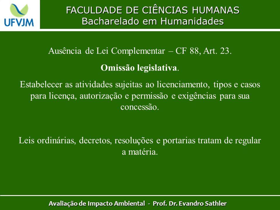 FACULDADE DE CIÊNCIAS HUMANAS Bacharelado em Humanidades Avaliação de Impacto Ambiental - Prof. Dr. Evandro Sathler Ausência de Lei Complementar – CF