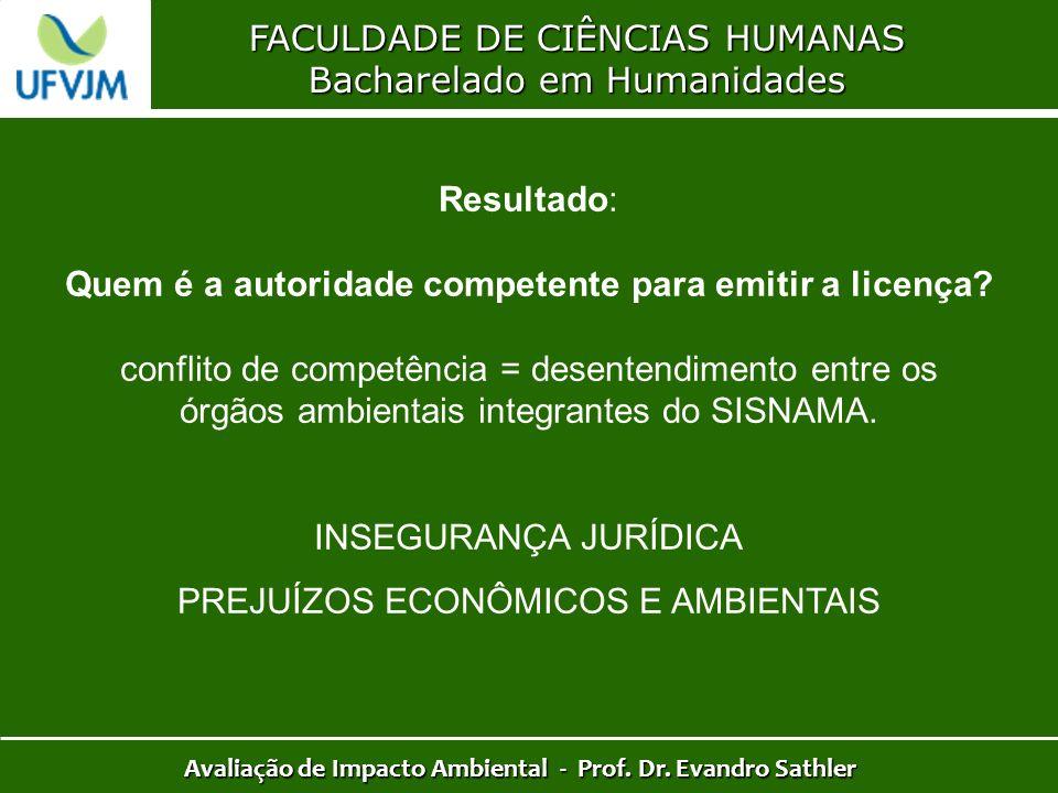 FACULDADE DE CIÊNCIAS HUMANAS Bacharelado em Humanidades Avaliação de Impacto Ambiental - Prof. Dr. Evandro Sathler Resultado: Quem é a autoridade com
