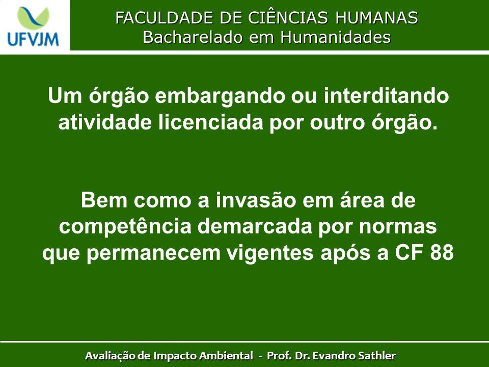 FACULDADE DE CIÊNCIAS HUMANAS Bacharelado em Humanidades Avaliação de Impacto Ambiental - Prof. Dr. Evandro Sathler Um órgão embargando ou interditand