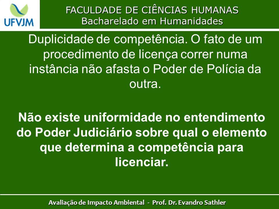 FACULDADE DE CIÊNCIAS HUMANAS Bacharelado em Humanidades Avaliação de Impacto Ambiental - Prof. Dr. Evandro Sathler Duplicidade de competência. O fato