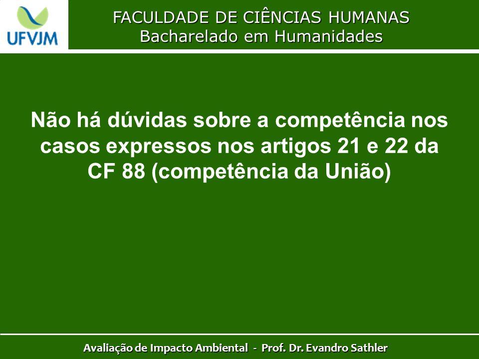 FACULDADE DE CIÊNCIAS HUMANAS Bacharelado em Humanidades Avaliação de Impacto Ambiental - Prof. Dr. Evandro Sathler Não há dúvidas sobre a competência