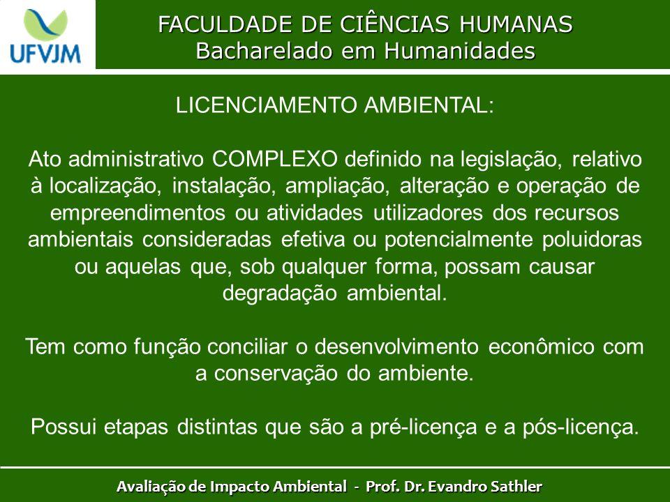 FACULDADE DE CIÊNCIAS HUMANAS Bacharelado em Humanidades Avaliação de Impacto Ambiental - Prof. Dr. Evandro Sathler LICENCIAMENTO AMBIENTAL: Ato admin