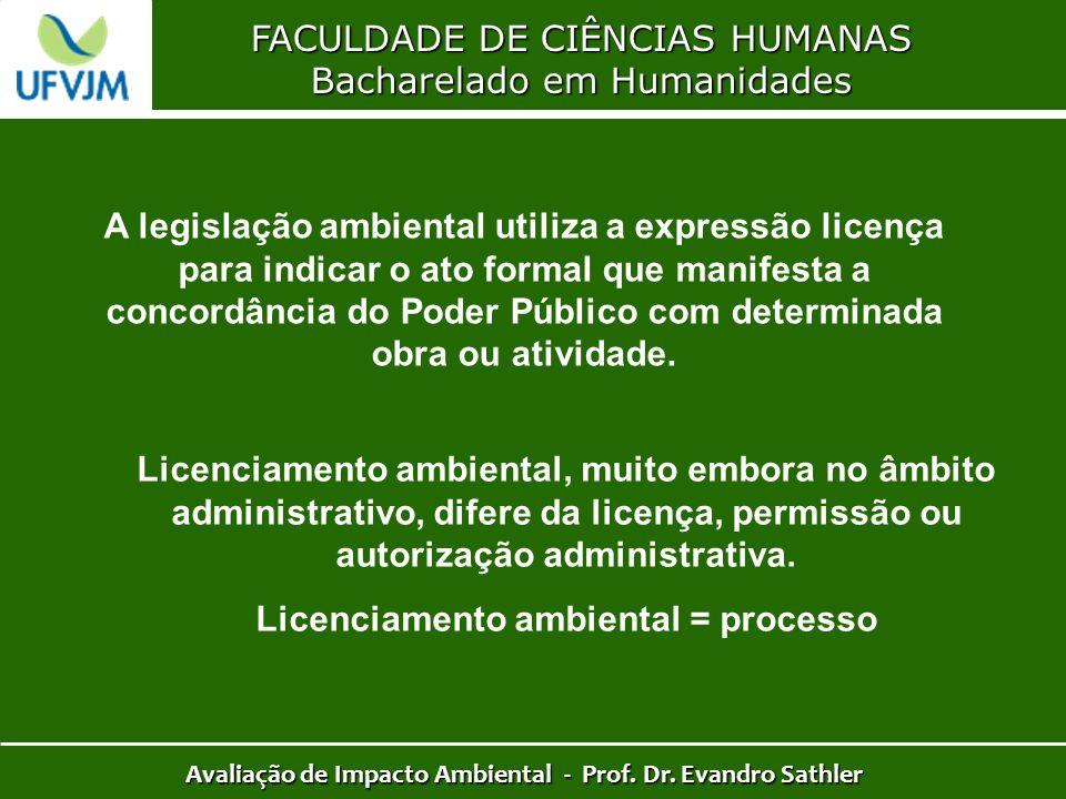 FACULDADE DE CIÊNCIAS HUMANAS Bacharelado em Humanidades Avaliação de Impacto Ambiental - Prof. Dr. Evandro Sathler A legislação ambiental utiliza a e